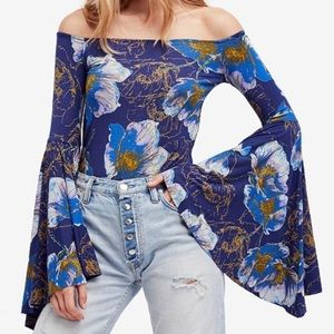 Free People Birds of Paradise Bell Sleeve Boho Top